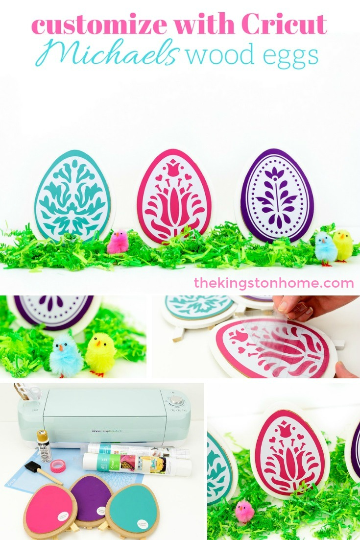 Customizing Wood Easter Eggs from Michaels - The Kingston Home: Learn how to use your Cricut to transform plain wooden Easter eggs into unique holiday decor that you will want to display year after year! via @craftykingstons