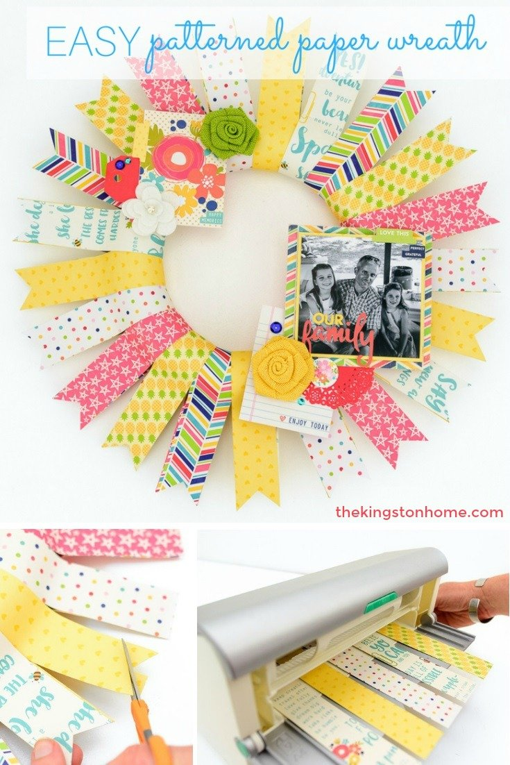 easy patterned paper wreath diy