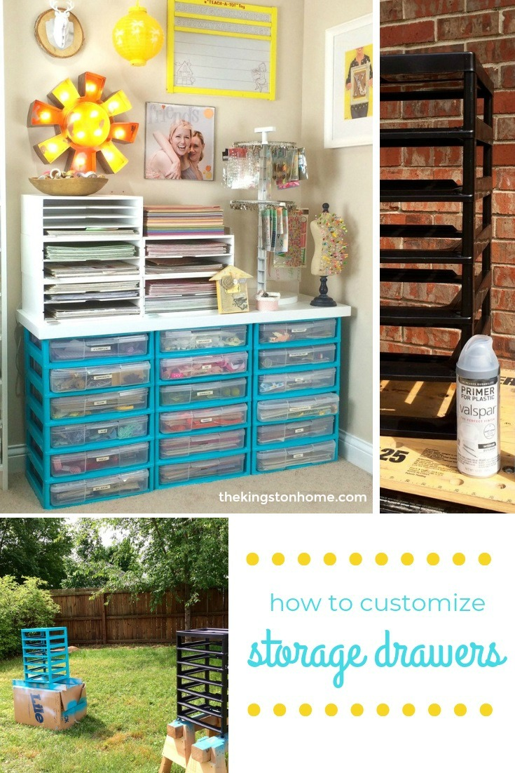 """I {heart} spray paint - customize your plastic storage drawers! - The Kingston Home: Plastic drawers have always been my storage of """"choice"""" because they are inexpensive and easily movable, but I've always dreamed of more. Enter Valspar Primer for Plastic! via @craftykingstons"""