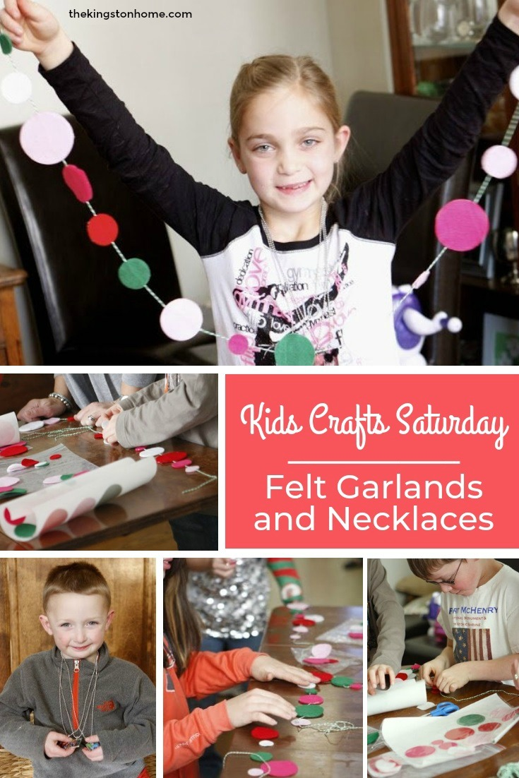 Kids Crafts Saturday – Felt Garlands and Necklaces - The Kingston Home: Do you need to a fun but no-mess project to make with the kids? Then learn how to create felt garlands and necklaces which are perfect to make all year! via @craftykingstons