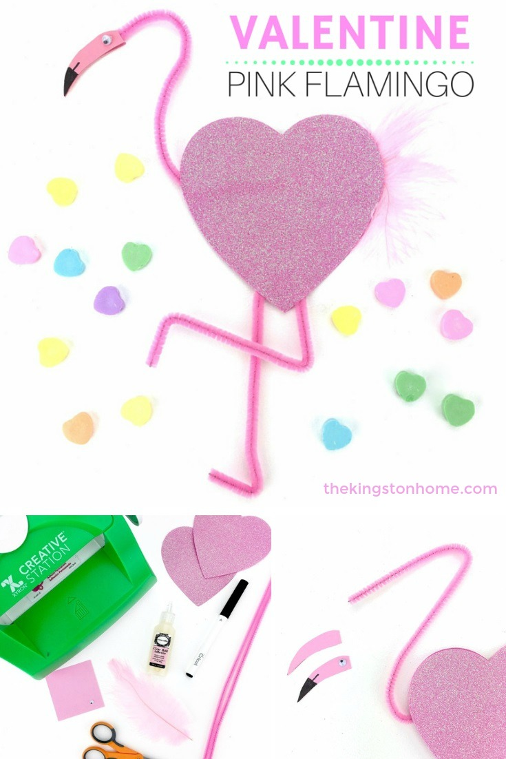 PINK FLAMINGO VALENTINE – EASY KIDS CRAFT PROJECT! - The Kingston Home: Turn sparkly foam hearts and pipe cleaners into Pink Flamingo Valentines! This no-mess project is perfect for kids and is easy to make! via @craftykingstons