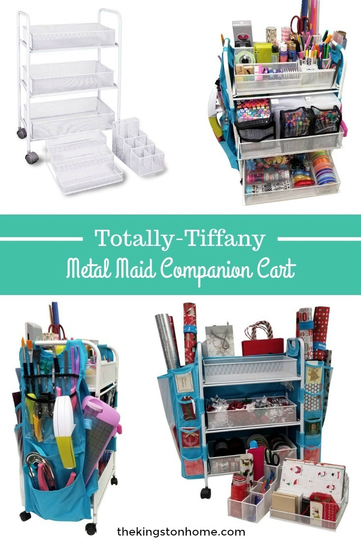 Totally Tiffany Metal Maid Companion Cart - The Kingston Home: My fabulous friend Totally Tiffany knows I have been redoing my studio, and she also knows my studio colors are white and teal - so she sent me THE MOST amazing surprise in the mail last week and I can't wait to show it to you! via @craftykingstons