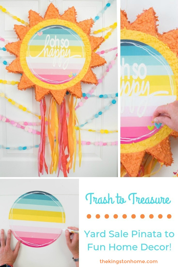 Trash to Treasure: Yard Sale Pinata to Fun Home Decor! - The Kingston Home: Pinatas are not just for parties anymore! Learn how to transform a simple pinata into an adorable piece of wall art with this tutorial! via @craftykingstons