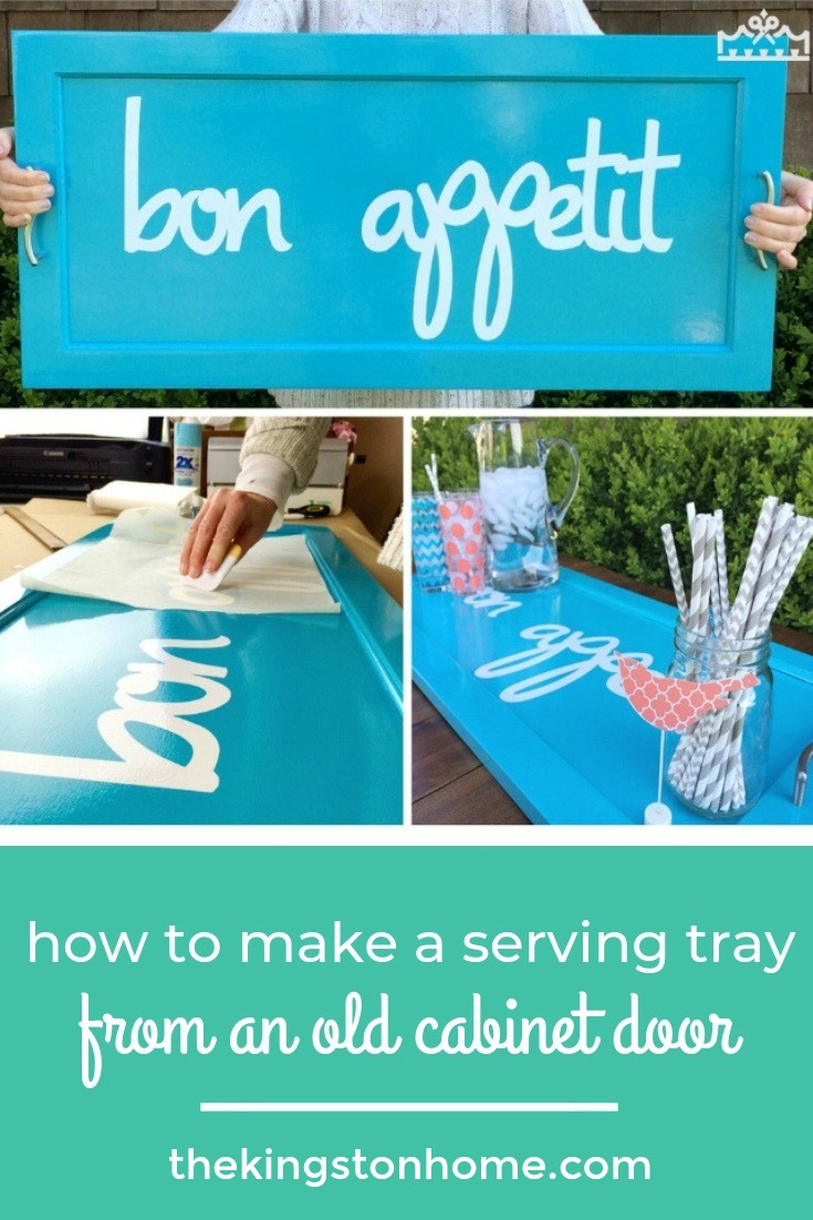 Turn an Old Cabinet Door in to a Fabulous Serving Tray! - The Kingston Home: If you love upcycling like we love upcycling - grab an old cabinet door and some handles and let's make a decorative tray! via @craftykingstons