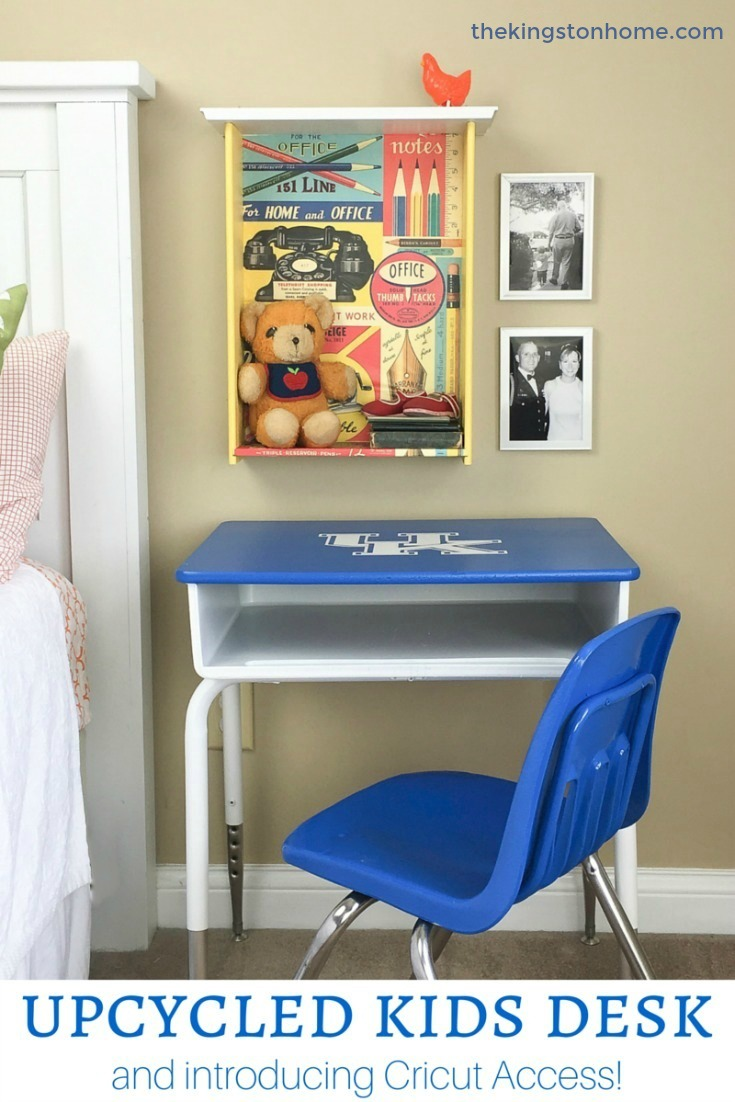 Upcycled Kids Desk…and introducing Cricut Access! - The Kingston Home: Using your Cricut machine and a little bit of spray paint, you can upcycle a kids desk into a fun piece of home decor for any room! via @craftykingstons