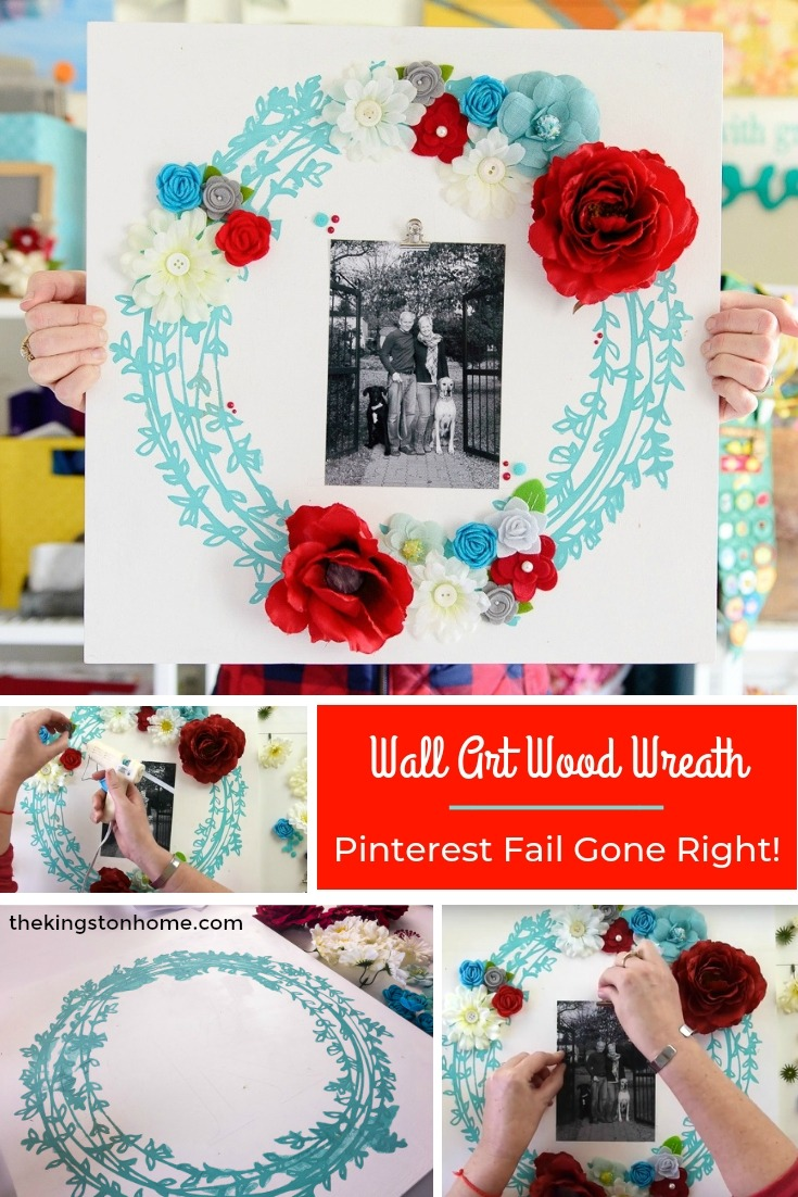 Wall Art Wood Wreath: Pinterest Fail Gone Right! - The Kingston Home: Learn how I took a total Pinterest fail project and turned it into a fun wall art wood wreath that is perfect for our mantel! via @craftykingstons