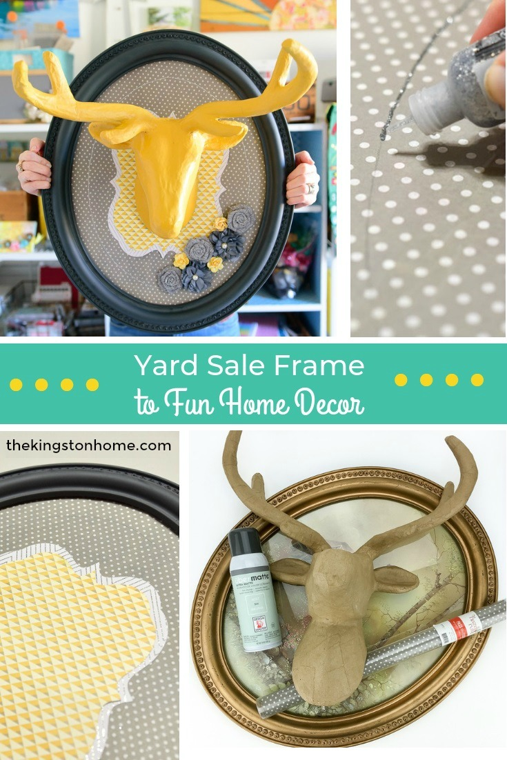 Yard Sale Frame to Fun Home Decor - Tale of the Left Out Wall Hanging - The Kingston Home: With a yard sale frame and a few craft supplies you can create a fun piece of home decor perfect for any room! via @craftykingstons