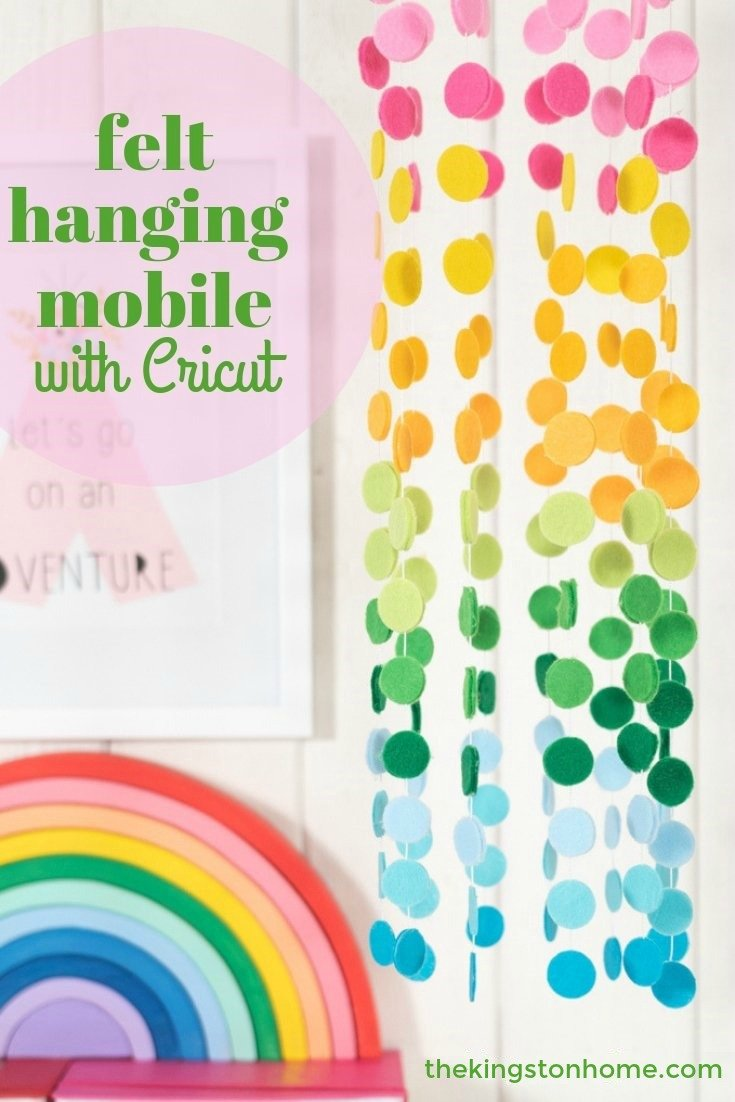 Felt Hanging Mobile with Cricut - The Kingston Home: Grab your your Cricut Maker and Rotary Blade and you can create a custom felt hanging mobile in any color of the rainbow...or all of them! via @craftykingstons