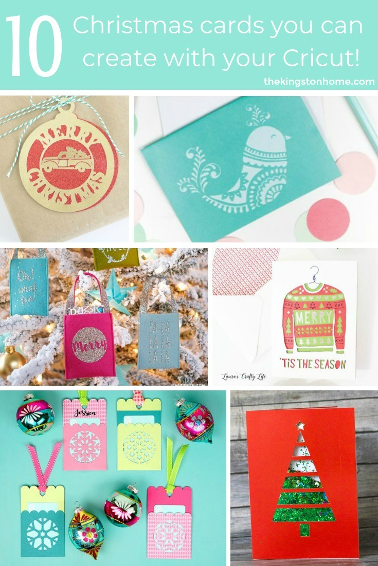 10 Homemade Christmas Cards You Can Create With Cricut - The Kingston Home: With Christmas fast approaching, we've got 10 last minute Homemade Christmas cards you can make with the help of your Cricut machine! via @craftykingstons