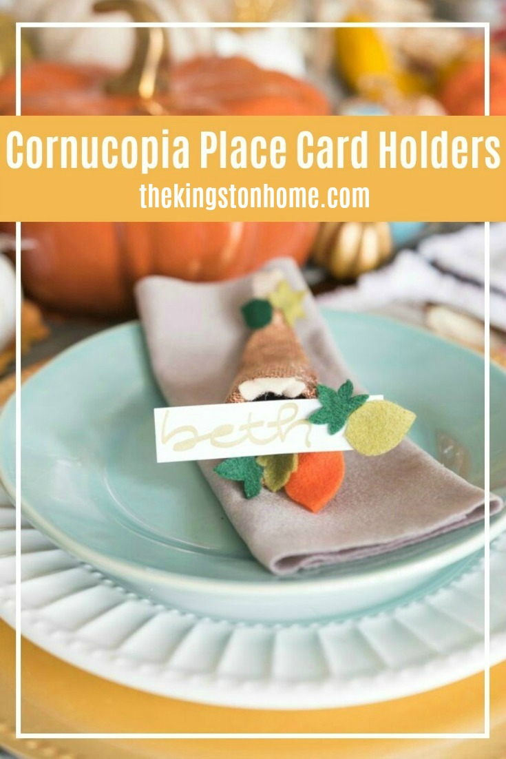 Cornucopia Place Card Holders - The Kingston Home: Add that extra handmade touch to your Thanksgiving table, by making your own Cornucopia Place Card Holders! via @craftykingstons