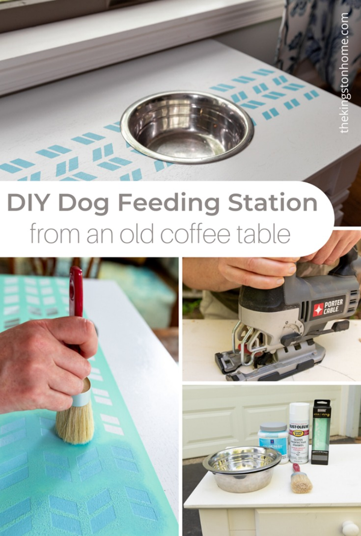 DIY Dog Feeding Station From An Old Coffee Table - The Kingston Home
