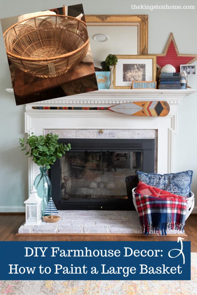 DIY Farmhouse Decor How to Paint a Large Basket - The Kingston Home