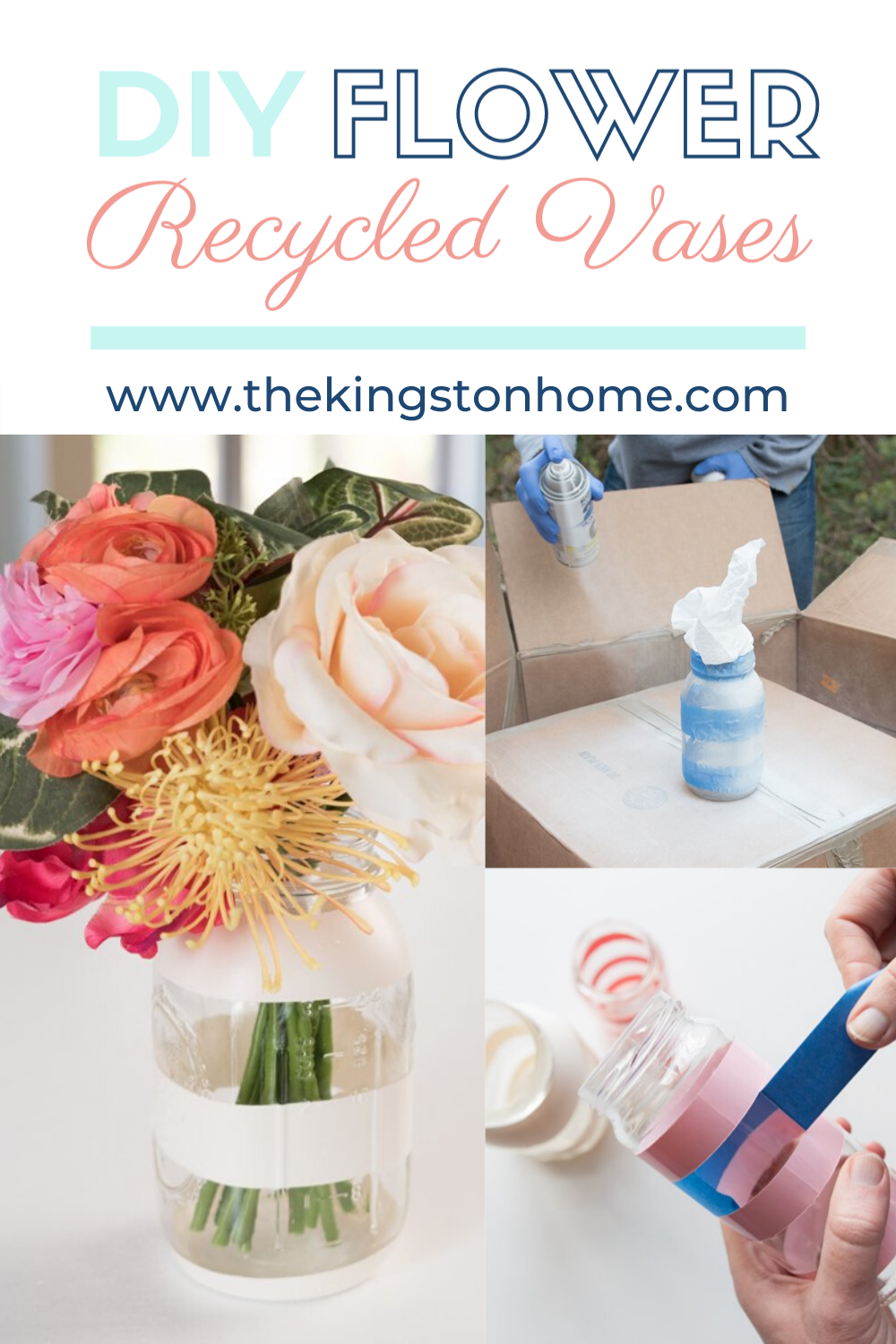 Glass Bottle Upcycle DIY Bud Vases - The Kingston Home: Grab a few old jars from the recycling bin and some Rust-oleum spray paint and get crafty! Make an upcycled DIY flower vase for fresh spring blooms! via @craftykingstons