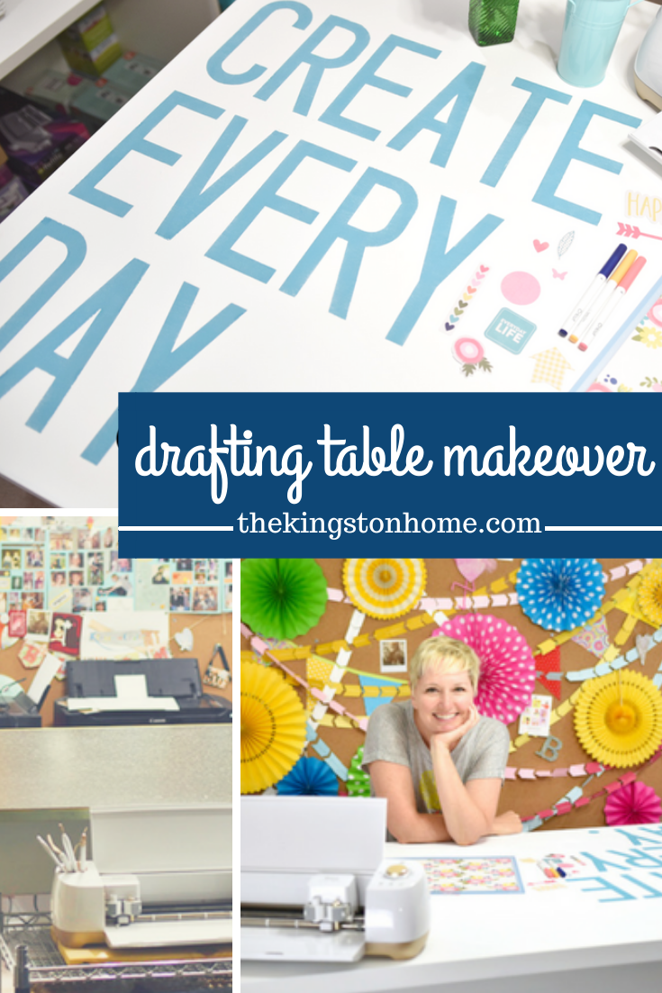 Drafting Table Makeover with Cricut - The Kingston Home: We took an old drafting table we found at a yard sale and transformed it in to the perfect table for my studio by creating custom stencils with Cricut and adhering them with my Xyron Creative Station! via @craftykingstons