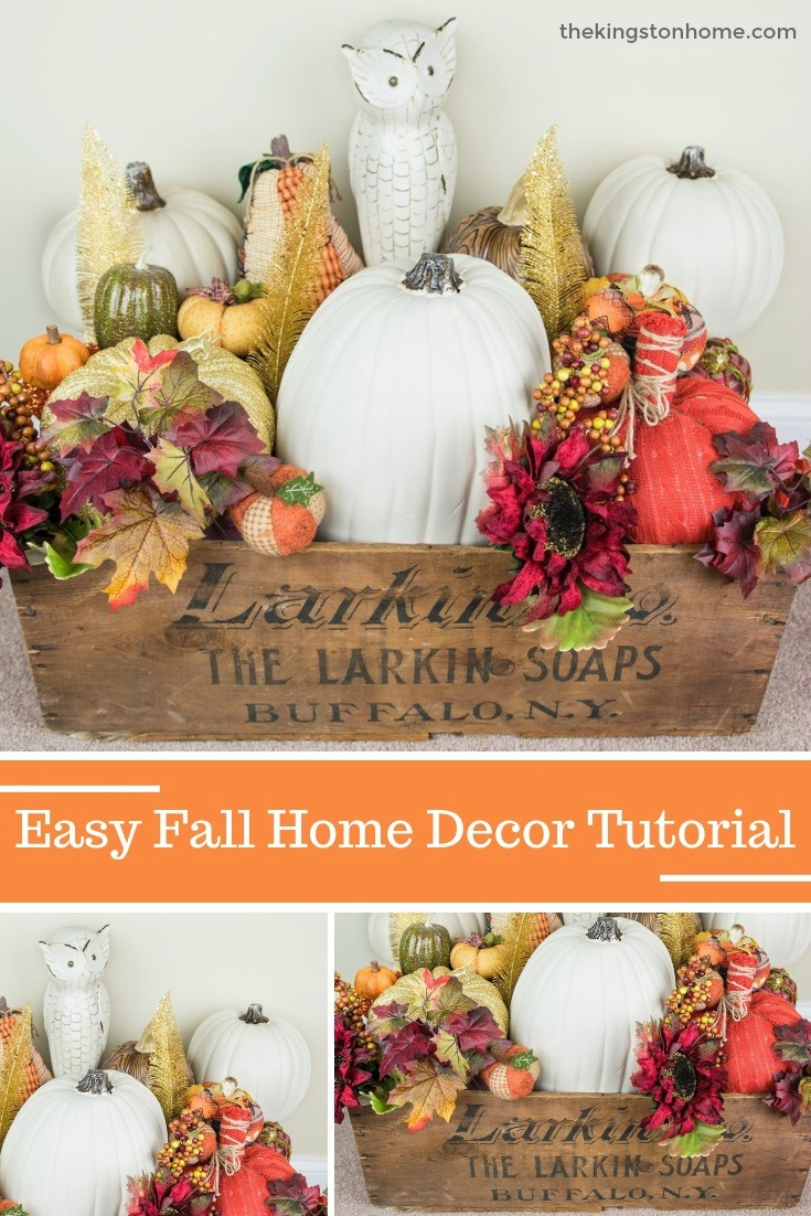 Easy Fall Home Decor Tutorial - The Kingston Home: Learn how to use all those pumpkins that you have been buying to create your own piece of fall home decor, is less than 30 minutes! via @craftykingstons