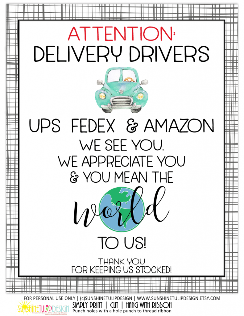 Essential Delivery Driver Thank You Sign