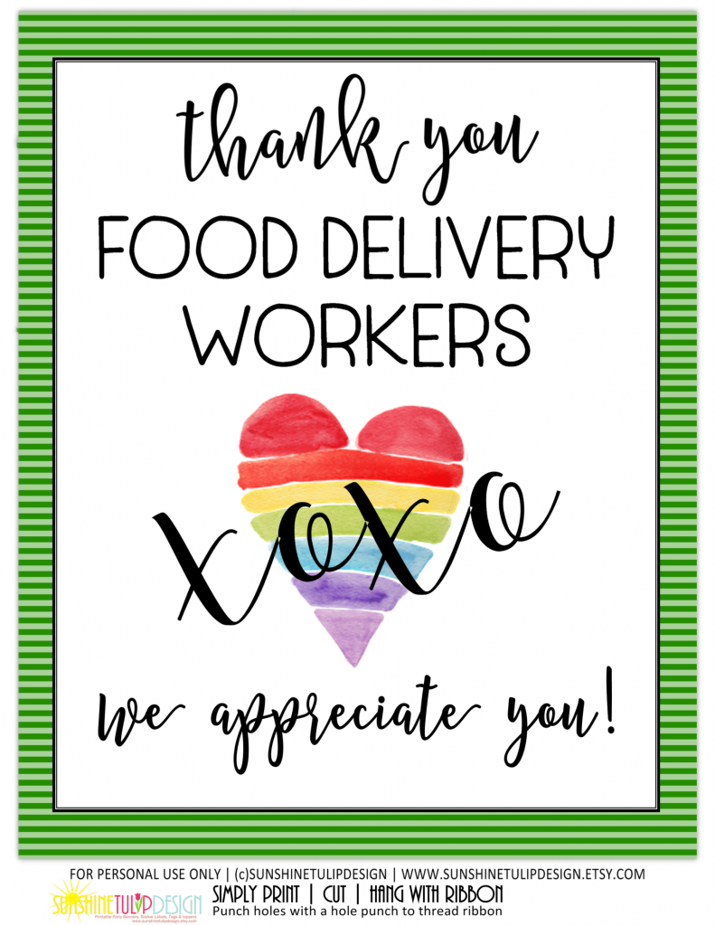 Essential Food Delivery Thank You Sign