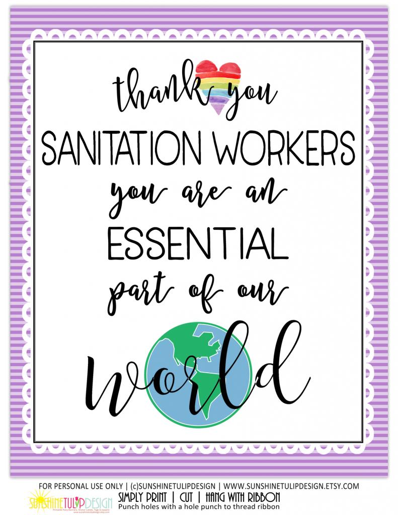 Essential Sanitation worker 8x10 print white