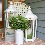 farmhouse chic lanterns on front porch
