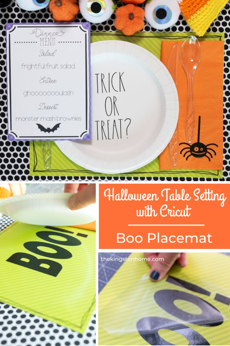 Halloween Table Setting with Cricut Boo Placemat - The Kingston Home: Get your table decorated just in time for Halloween! In this three part series we are showing you how to create spooky Halloween table decor with Cricut. Today, we are making an easy laminated placemat! via @craftykingstons