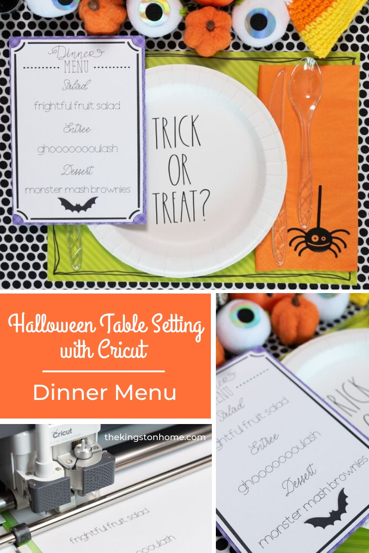 Halloween Table Setting with Cricut Dinner Menu - The Kingston Home: Get your table decorated just in time for Halloween! In this three-part series, we are showing you how to create spooky table decor with Cricut. Today, we are making a ghoulish dinner menu! via @craftykingstons