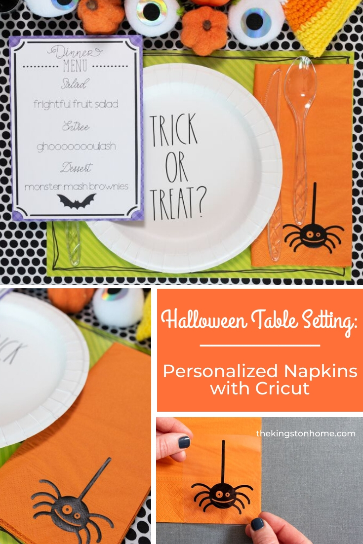 Halloween Table Setting with Cricut Personalized Napkins - The Kingston Home: Get your table decorated just in time for Halloween! In this three part series, we are showing you how to create quick and easy Halloween table decor. Today, we are making personalized napkins with Cricut! via @craftykingstons