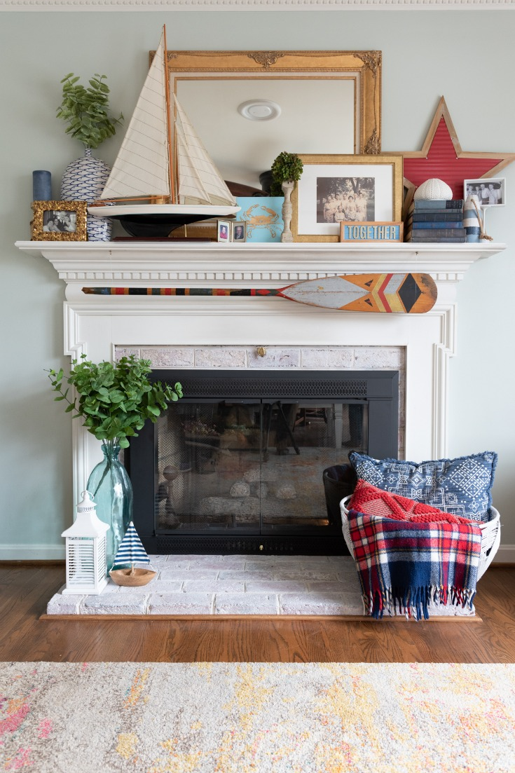 basket makeover by fireplace