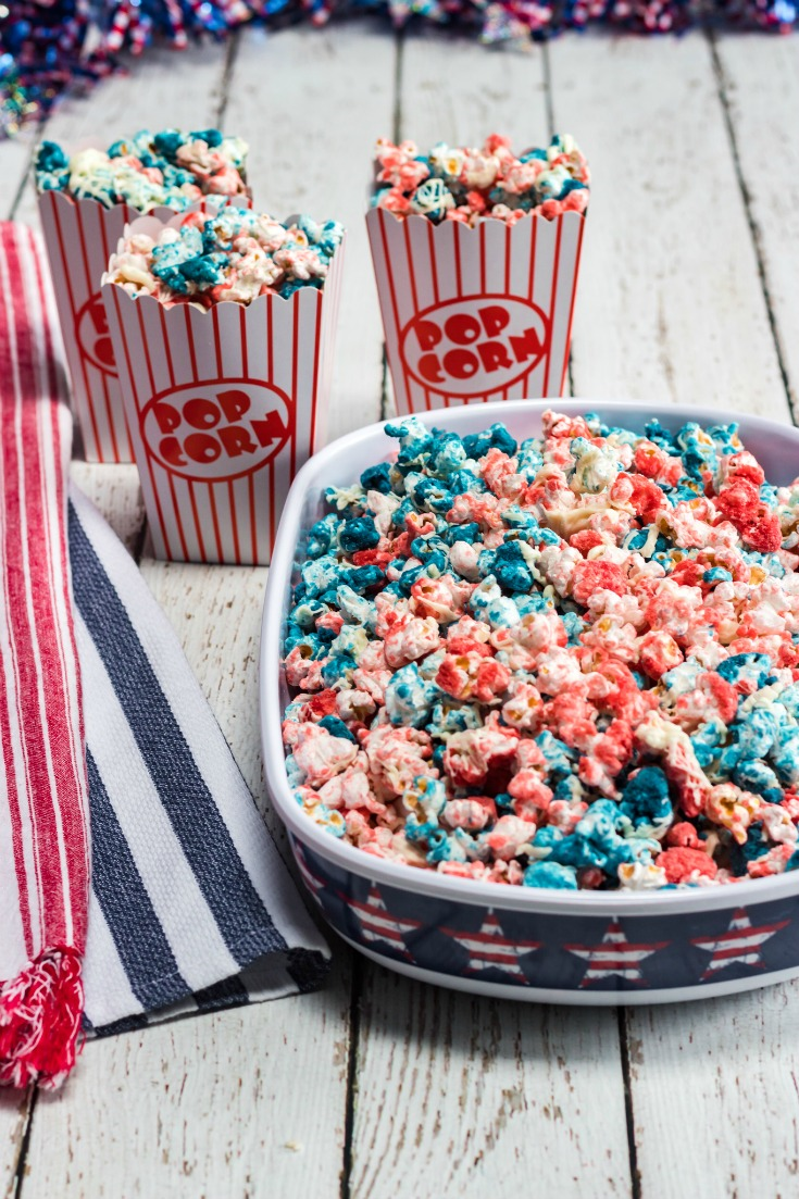 fourth of july patriotic popcorn in bowl on table