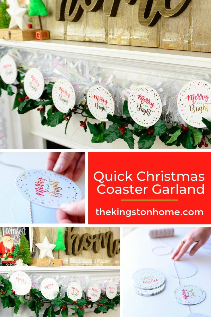 Quick Christmas Coaster Garland - The Kingston Home: Learn how to turn a few disposable coasters into a cute Christmas garland, in less than 20 minutes! via @craftykingstons