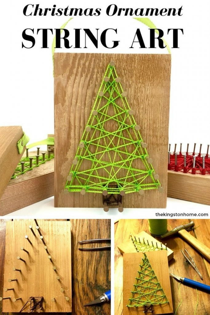 Reclaimed Christmas String Art Ornaments – and FREE printable pattern - The Kingston Home