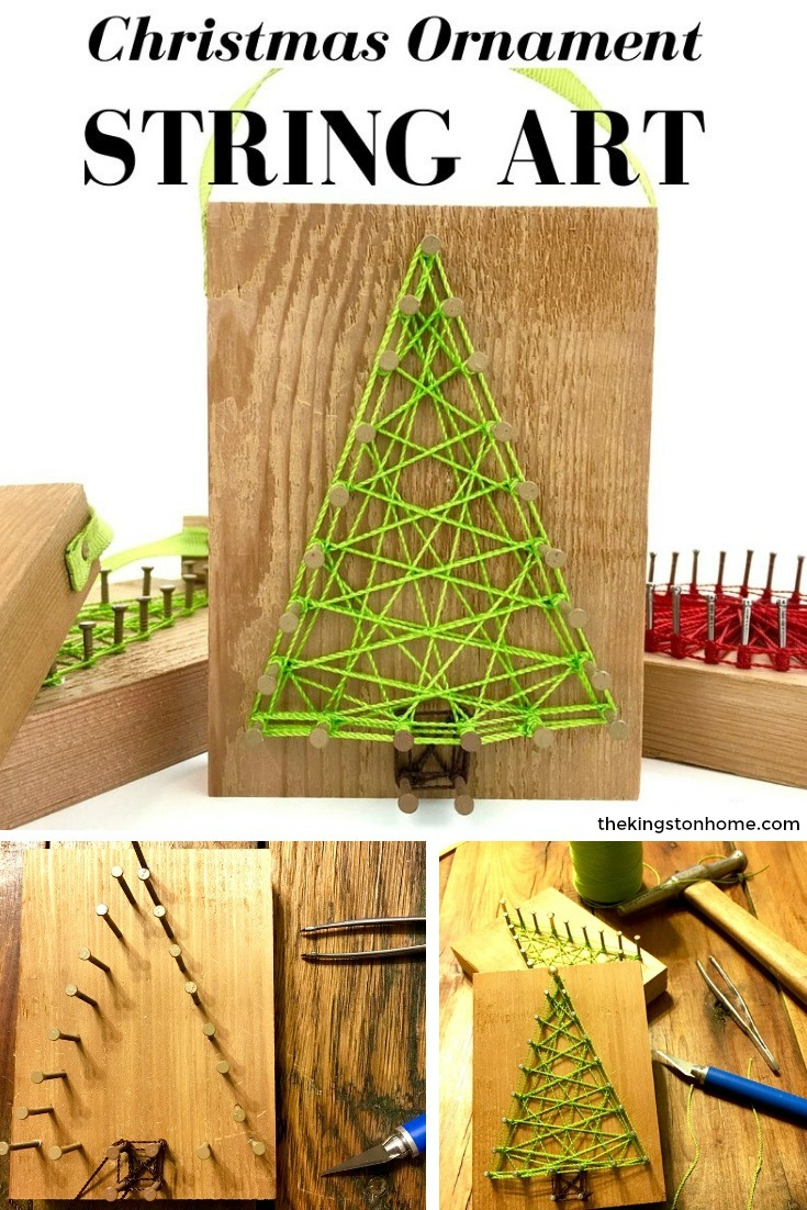 Reclaimed Christmas String Art Ornaments – and FREE printable pattern - The Kingston Home: Learn how to create your own Christmas Ornament String Art, just in time for the holidays, using some wood and our FREE printable pattern! via @craftykingstons