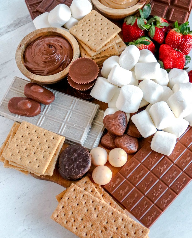 campfire dessert smores board for party