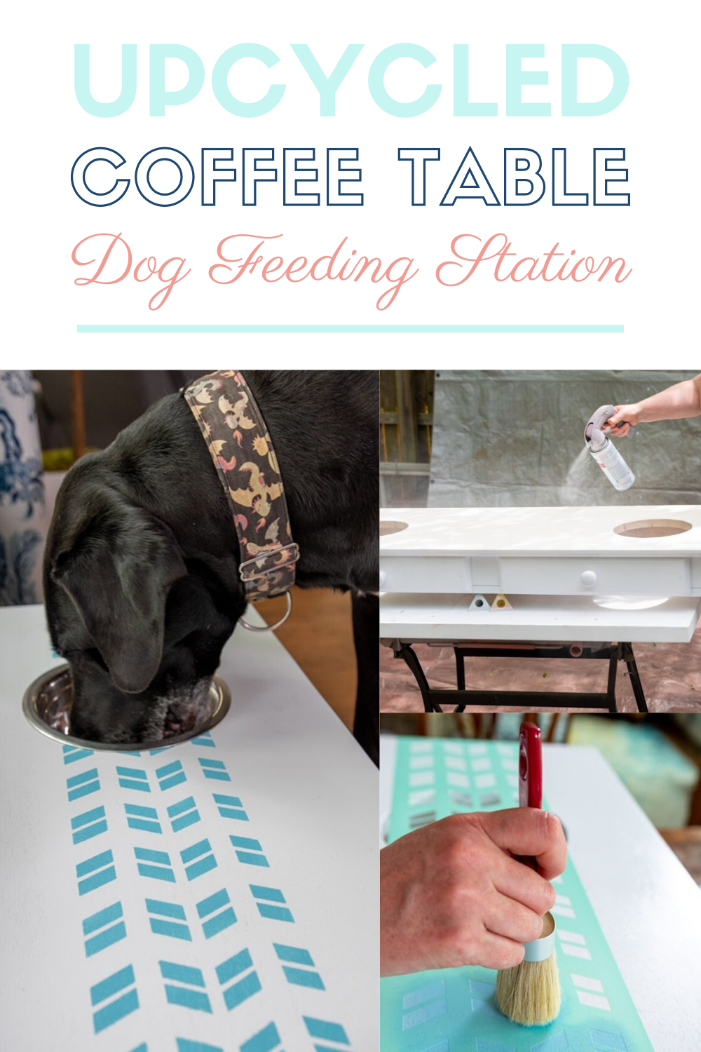 DIY Dog Feeding Station From An Old Coffee Table - The Kingston Home: Fellow dog moms and dads! Tired of buying ugly plastic dog feeders that stick out like a sore thumb? Thanks to Prima Stick & Style Stencils we're taking an old coffee table and turning it in to a beautiful dog feeding station that you'll be proud to show off! via @craftykingstons