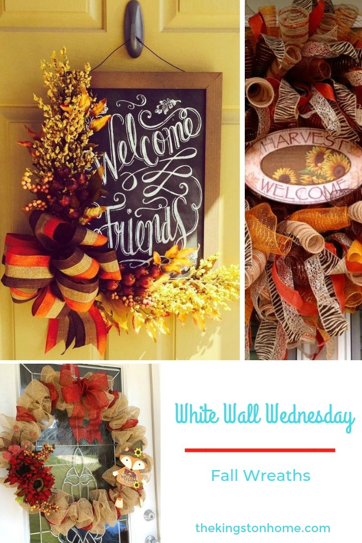 White Walls Wednesday – Fall Wreaths - The Kingston Home: White Walls is an online community dedicated to helping military families make home wherever Uncle Sam sends them. Every Wednesday I will be introducing you to a military spouse and sharing his/her creativity and a little bit about them. Today, I am sharing some beautiful fall wreaths made by some creative women in the White Walls community! via @craftykingstons