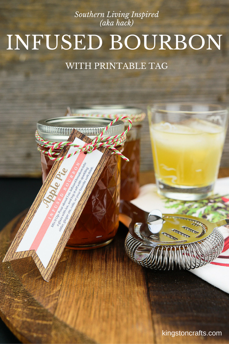 Gift Idea for Him - Infused Bourbon with DIY Tag - The Kingston Home: Need a last minute Father's Day gift idea that uses things you might already have at home? Infused bourbon to the rescue! Today we're whipping up a quick apple pie bourbon recipe and have a free printable gift tag to go right along with it. via @craftykingstons