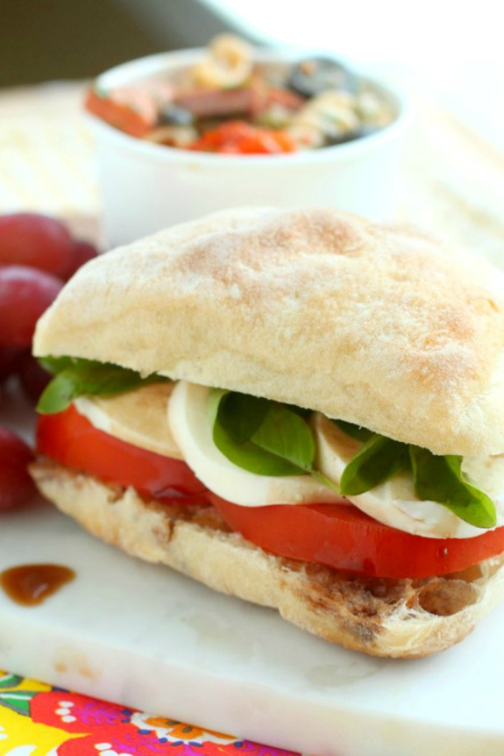 Roasted Garlic Caprese Sandwich by Giggles Galore