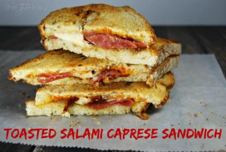 Toasted Salami Caprese Sandwich by The Tiptoe Fairy