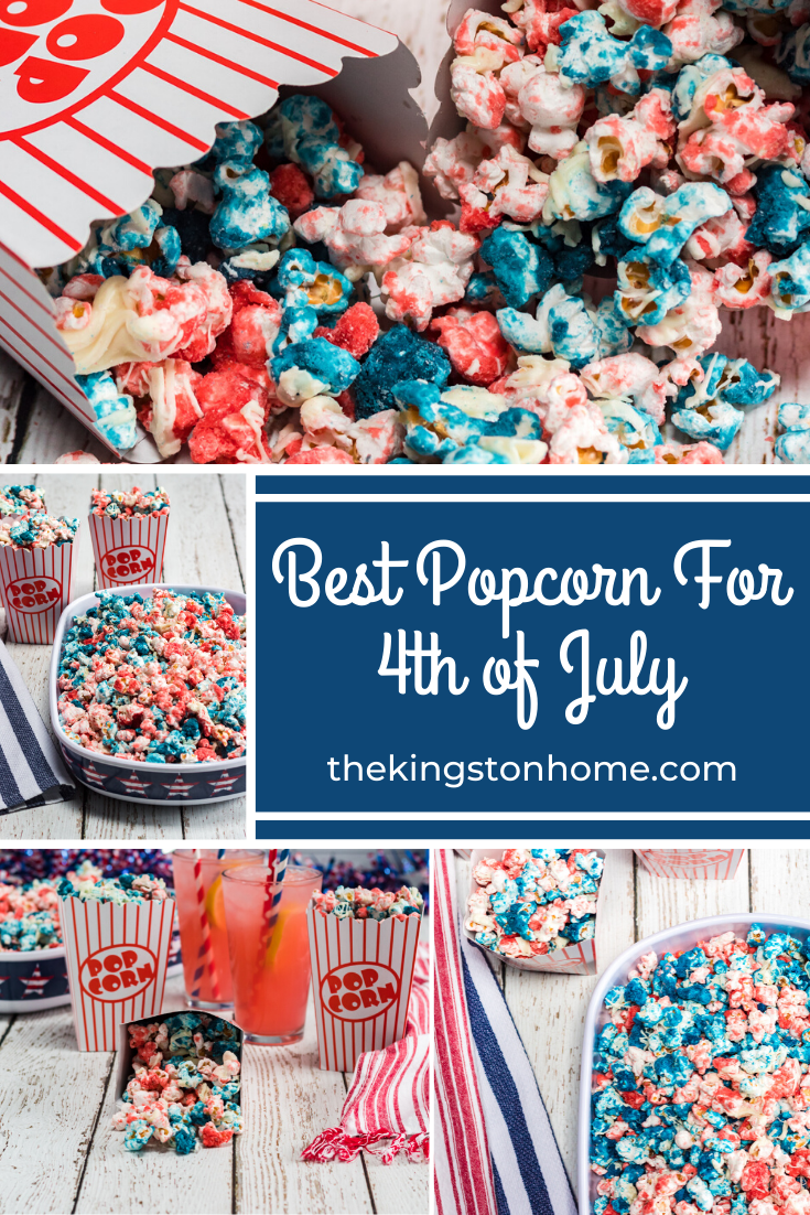 Best Popcorn for 4th of July - The Kingston Home: Are you ready to have the best popcorn ever? Then learn how to make this quick and simple patriotic popcorn for your fourth of July party! via @craftykingstons