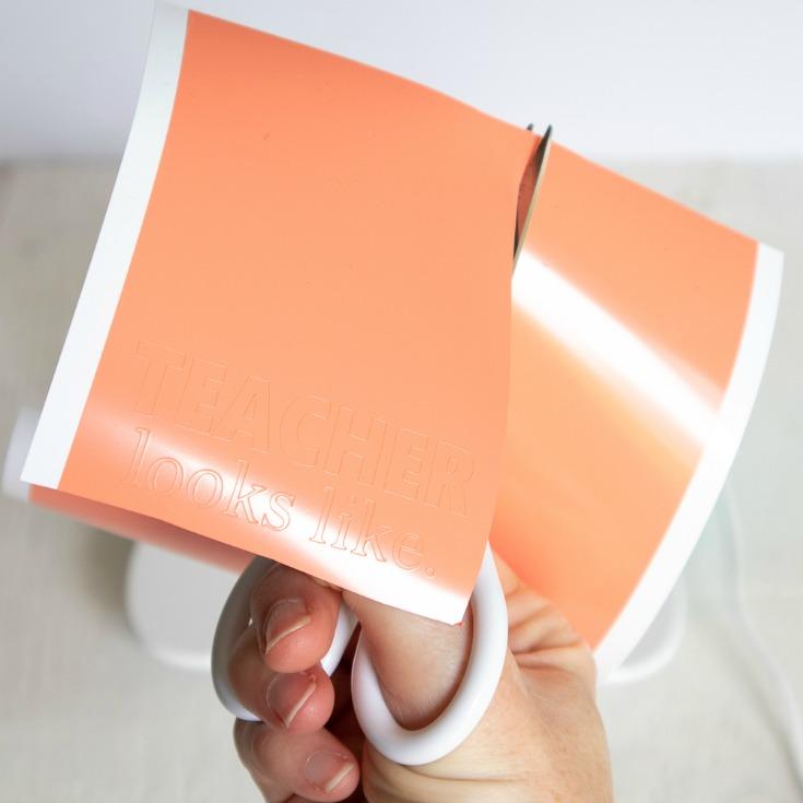 cutting orange vinyl