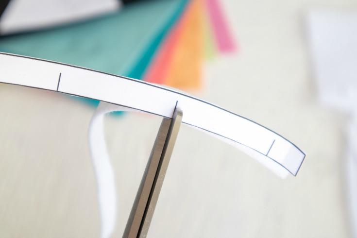 cutting notch into felt strip