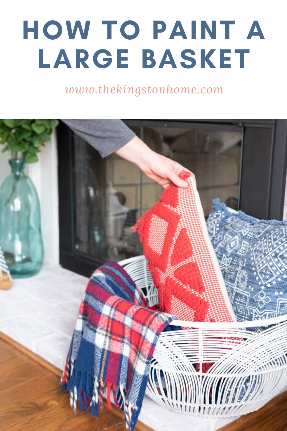 DIY Farmhouse Decor How to Paint a Large Basket - The Kingston Home: Have you been stuck inside too long, that you are getting tired of your current home decor? If so, then learn how easy it is to create customized home decor using the items you already own and some Rust-oleum spray paint! via @craftykingstons
