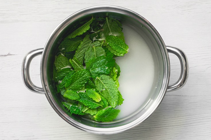 mint syrup ingredients in pan