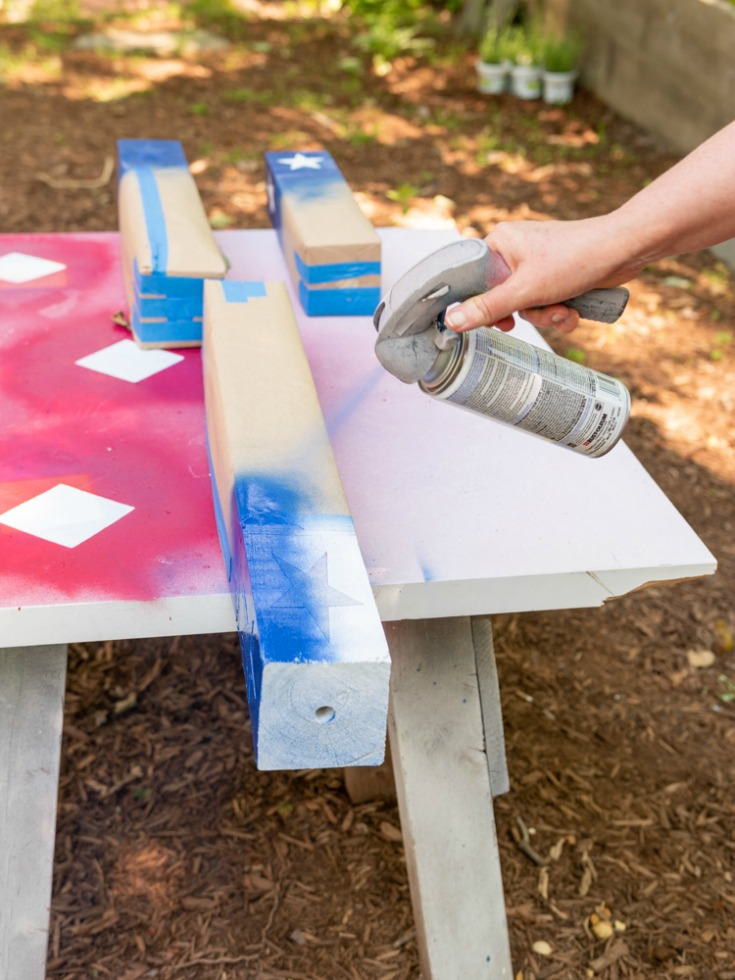 spray paint firecracker base with blue paint