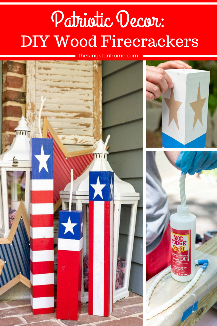 Patriotic Decor: DIY Wood Firecrackers - The Kingston Home: Add to your patriotic decor this year by creating your own unique set of DIY wood firecrackers for the 4th of July! via @craftykingstons