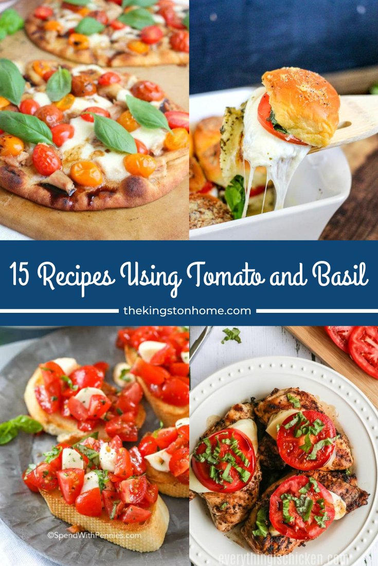15 Recipes Using Tomato and Basil - The Kingston Home: Got a lot of tomato and basil in your garden this Summer? Or can't resist them at the Farmers Market? All you need is a few extra ingredients to create the perfect summer recipe - and we've got 15 of them to share! via @craftykingstons