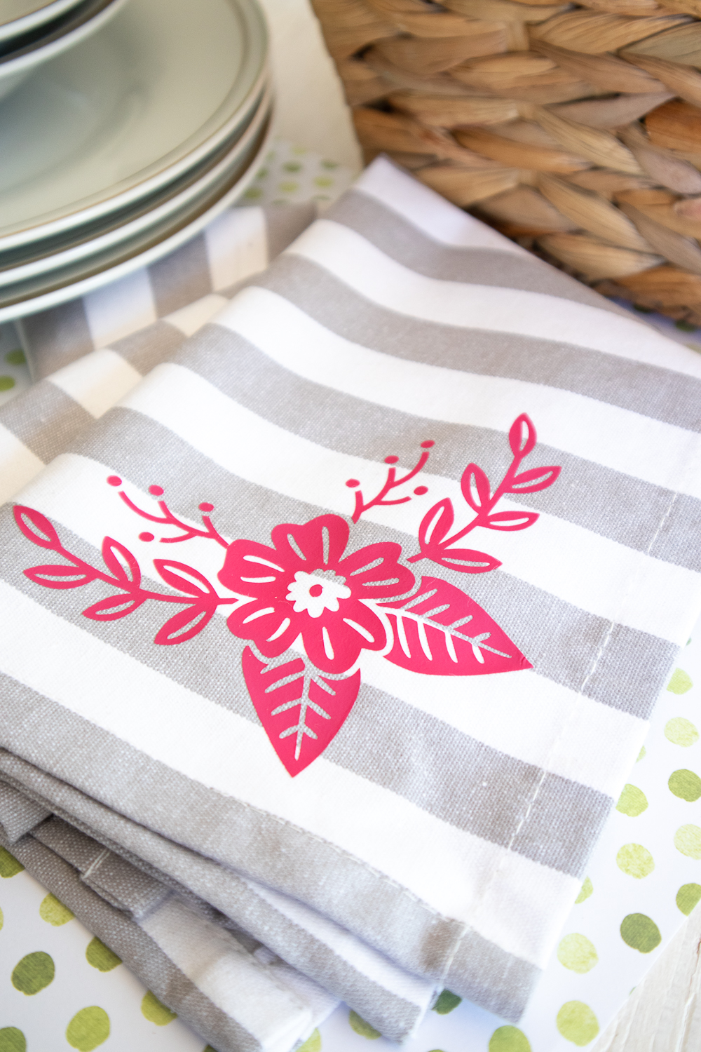 cricut grey tea towel