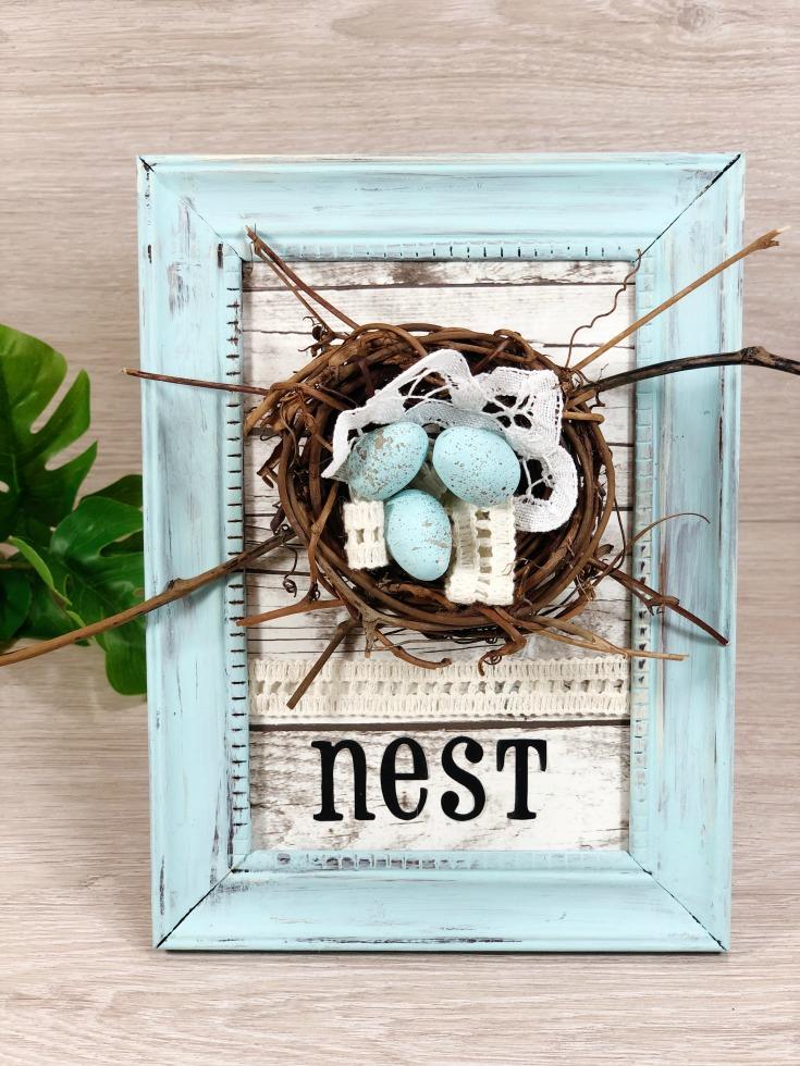 shabby chic bird's nest frame