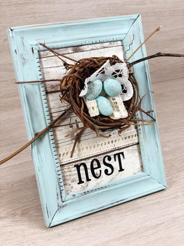 farmhouse bird nest frame