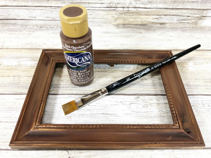 painting dollar store frame brown