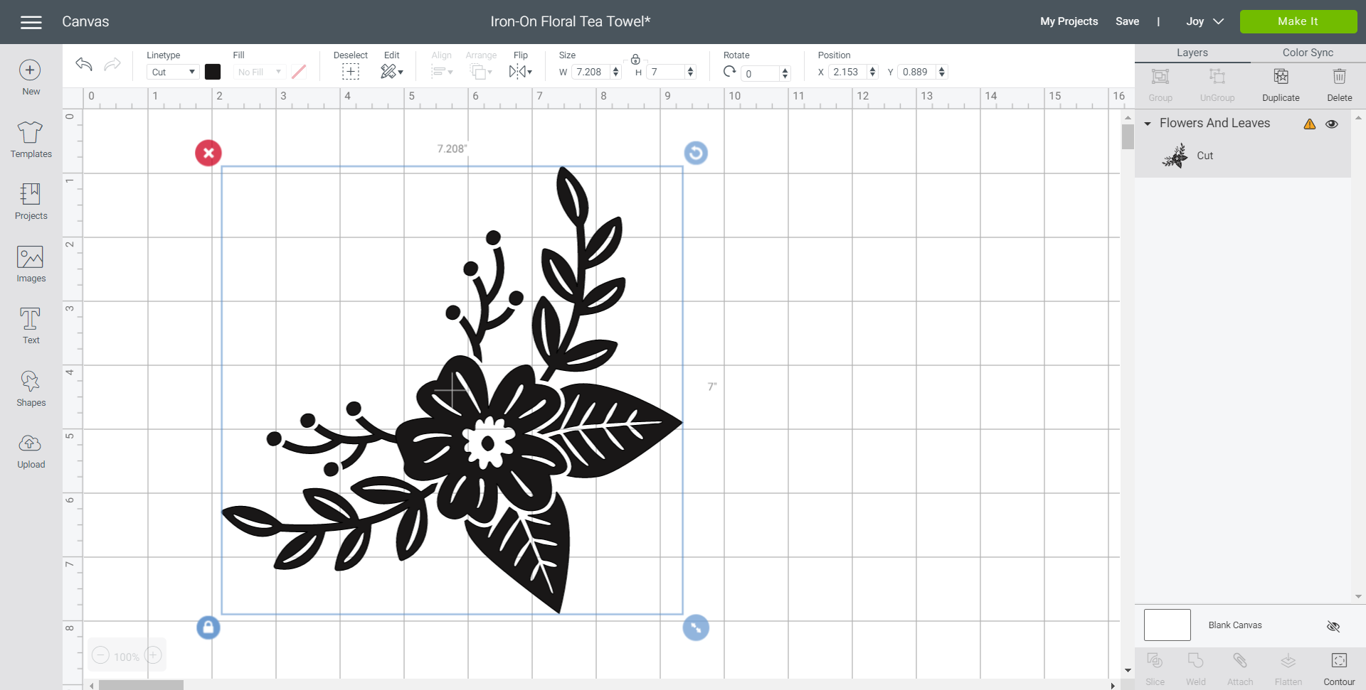 adjusting flower size in cricut design space